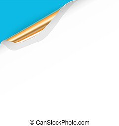 Vector Curled White Paper Corner with Gold Back Side
