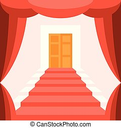 Vector  curtain, staircase and door
