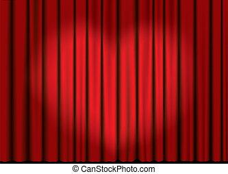 Vector curtain with heart spotlight