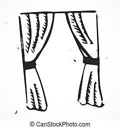 Vector curtains, hand drawn