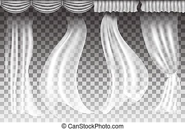 Vector curtains on transparent background