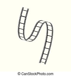 Vector curved film strip movie tape black white