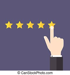 Vector customer review concepts in flat style. Hand choosing positive review.