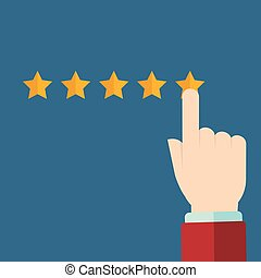 Vector customer review concepts in flat style - male hand choosing positive review