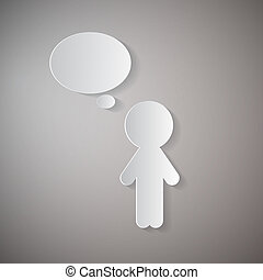 Vector Cut Paper Man With Empty Speech Bubble on Grey Background