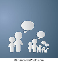 Vector Cut Paper People With Empty Speech Bubble on Blue Background