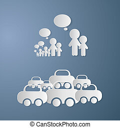 Vector Cut Paper People With Empty Speech Bubbles and Cars on Blue Background