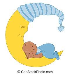 Vector Cute African American Baby Boy Sleeping on the Moon -...