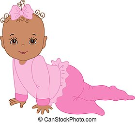 Vector Cute African American Baby Girl Crawling