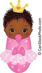 Vector Cute African American Baby Girl Dressed as Princess -...