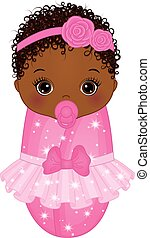 Vector Cute African American Baby Girl Dressed as Princess