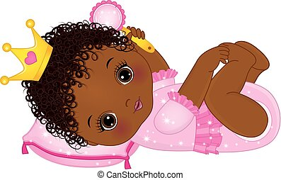 Vector cute little African American baby girl dressed as princess. Vector little princess. Vector baby girl with rattle. African American baby girl vector illustration