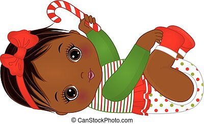 Vector Cute African American Baby Girl   Wearing Christmas Clothes