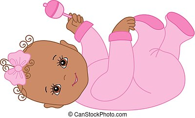 Vector Cute African American Baby Girl with Rattle