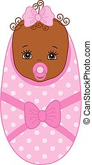Vector Cute African American Baby Girl with Soother