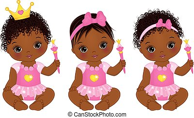 Vector cute little African American baby girl dressed as princesses. Vector baby girl. Vector little princess with magic wand. African American baby girls vector illustration