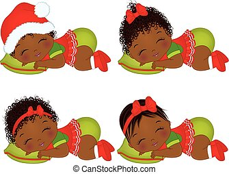 Vector Cute African American Baby Girls  Wearing Christmas Clothes