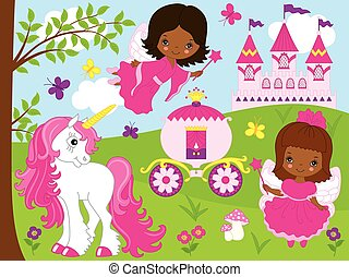 Vector Cute African American Fairies with Unicorn, Carriage and Castle.