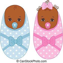 Vector Cute African American Newborn Twins. Vector Baby Boy. Vector Baby Girl