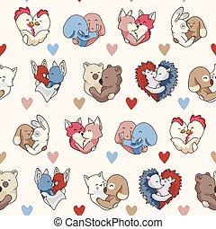 Vector cute animal hug hearts. Seamless repeat pattern.