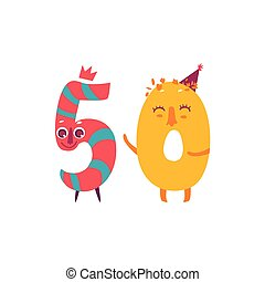 Vector cute animallike character number fifty 50