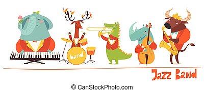 Vector cute animals musicians characters. Jazz music