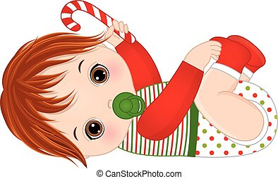 Vector Cute Baby Boy Wearing Christmas Clothes - Vector cute...