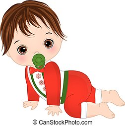 Vector Cute Baby Boy Wearing Christmas Clothes