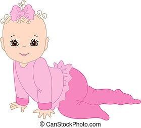 Vector Cute Baby Girl Crawling - Vector cute baby girl...