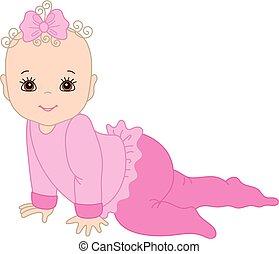 Vector Cute Baby Girl Crawling