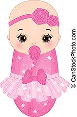 Vector Cute Baby Girl Dressed as Princess