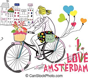 Vector cute beautiful fashionable baby girl rides a bike in Amsterdam