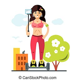 Vector Cute beautiful fashionable girl makes selfie on the Street. Flat style colorful Cartoon illustration.
