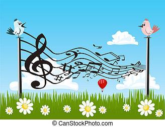 Vector cute bird singing