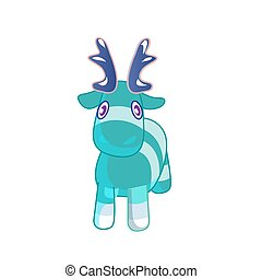 Vector cute blue cartoon reindeer toy. Funny character for merry christmas and new year holiday illustrations.
