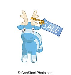 Vector cute blue cartoon reindeer toy with sale label. Funny character for merry christmas and new year holiday illustrations.