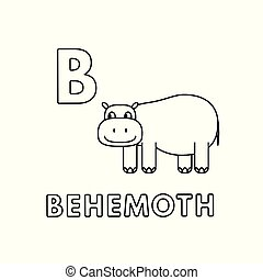 Vector Cute Cartoon Animals Alphabet. Behemoth Coloring...