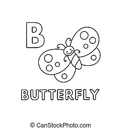 Vector Cute Cartoon Animals Alphabet. Butterfly Coloring Pages
