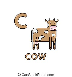 Vector Cute Cartoon Animals Alphabet. Cow Illustration