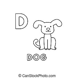 Vector Cute Cartoon Animals Alphabet. Dog Coloring Pages