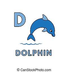 Vector Cute Cartoon Animals Alphabet. Dolphin Illustration