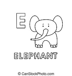 Vector Cute Cartoon Animals Alphabet. Elephant Coloring Pages