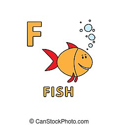 Vector Cute Cartoon Animals Alphabet. Fish Illustration