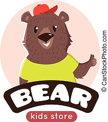 Vector cute cartoon bear logo. Funny animal mascot.