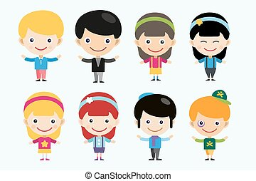 cute cartoon boys and girls together