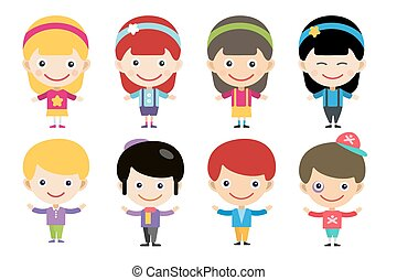 Vector cute cartoon boys and girls together