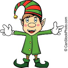 Vector: Cute Cartoon Character Christmas Elf on isolated white background