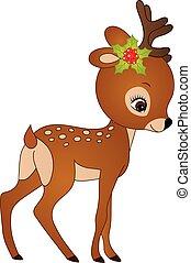 Vector Cute Cartoon Christbaby Deer. Vector Fawn - Vector...