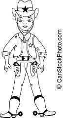 Vector Cute Cartoon Cowboy