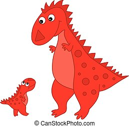 Vector cute Cartoon Dinosaur with Baby